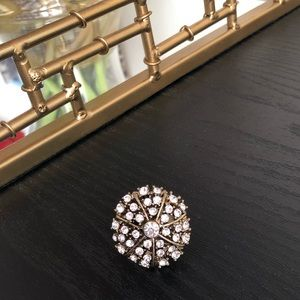 Gold round rhinestones ring